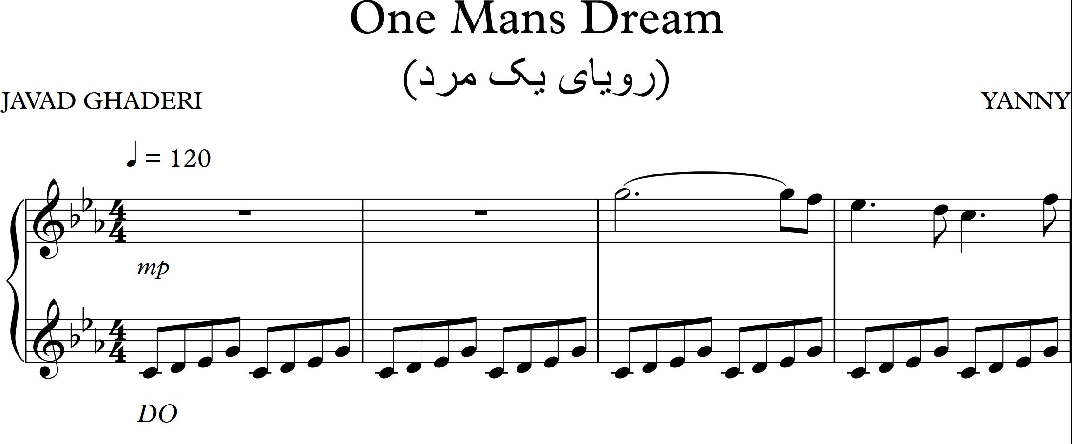 نت آهنگ رویای یک مرد One mans Dream از یانی