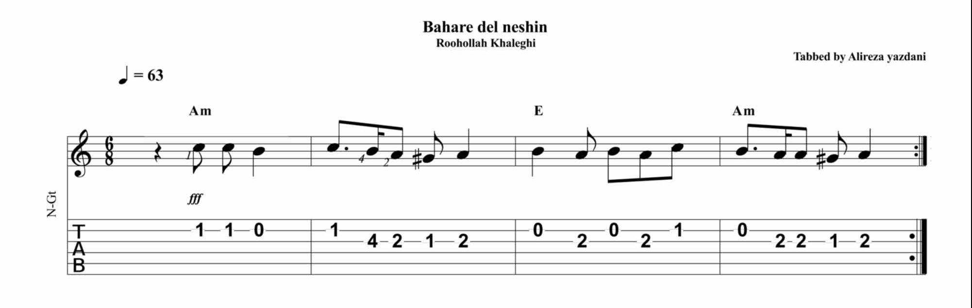 نت و تبلچر بهار دلنشین برای گیتار