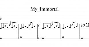 نت پیانوی آهنگ my immortal