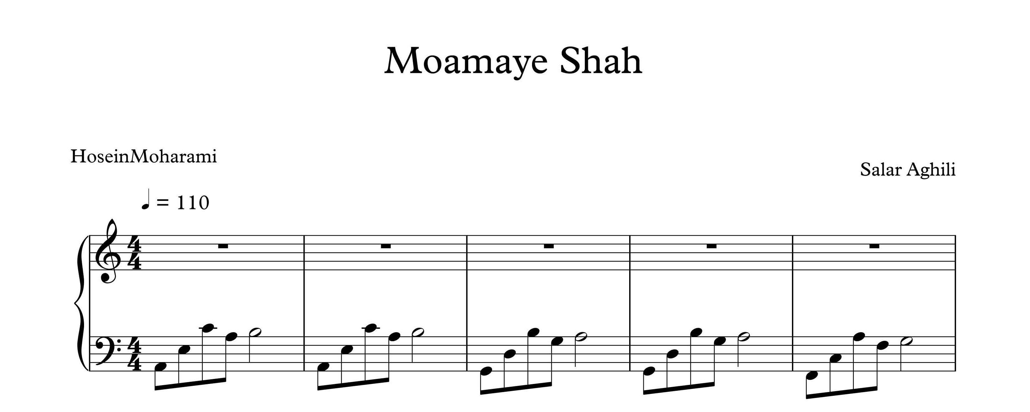 دانلود نت پیانو معمای  دانلود نت پیانوی معمای شاه - نت پیانو
