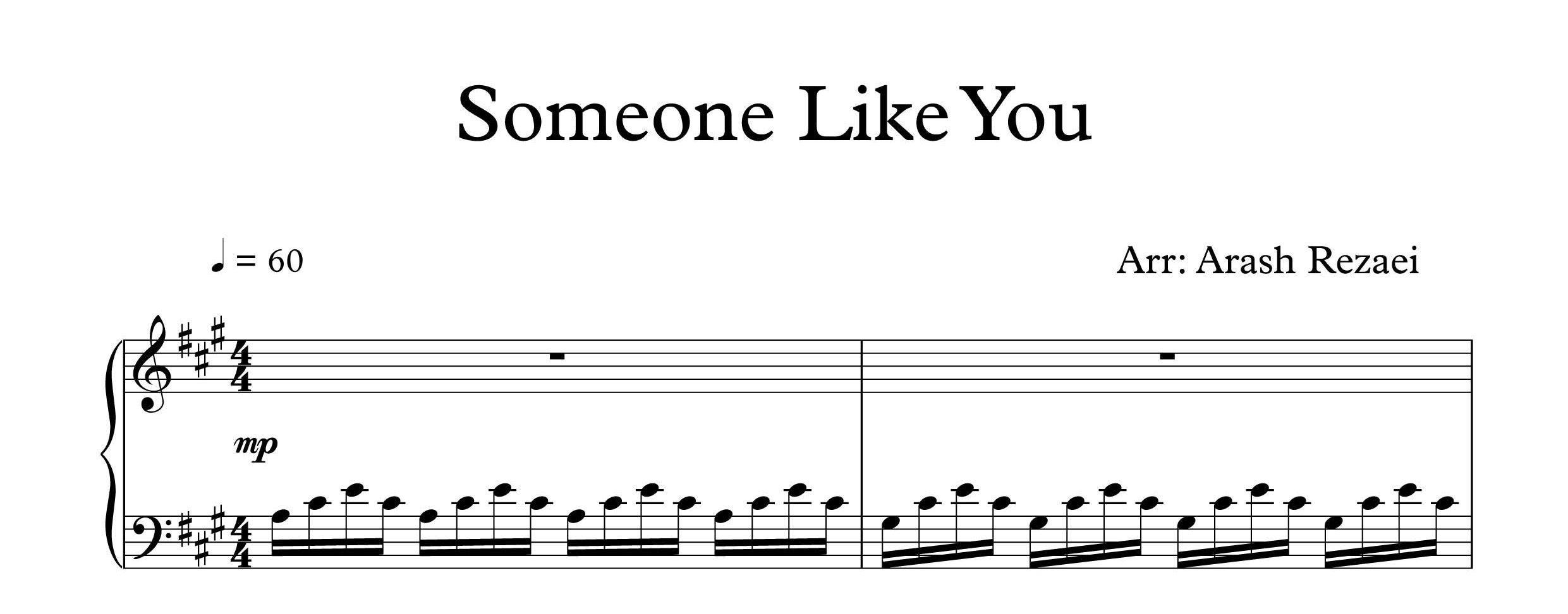 نت پیانوی Someone Like You