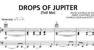 نت پیانو به همراه خط ملودی آهنگ Drops of Jupiter از Train