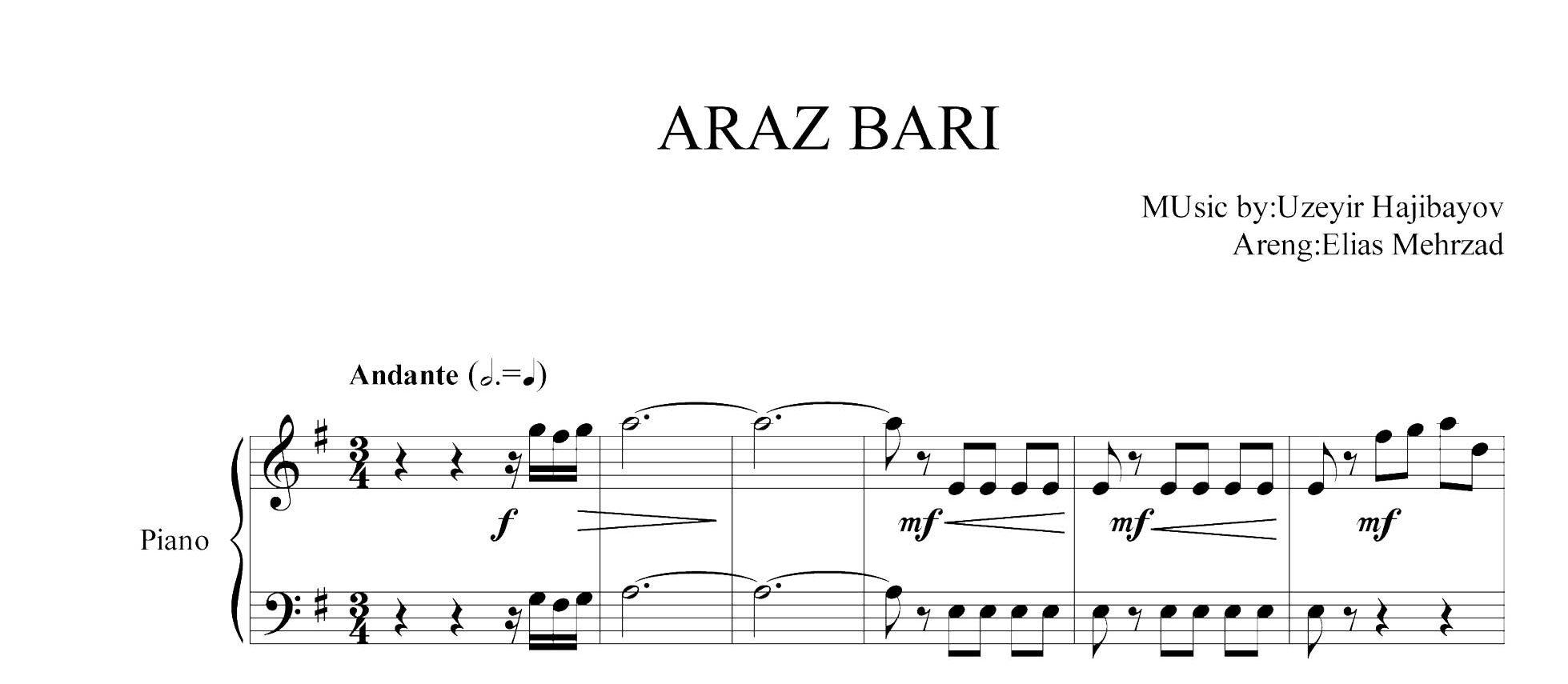 نت آذری آراز باری برای پیانو
