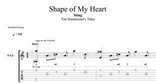 نت و تبلچر آهنگ shape of my heart از sting برای گیتار