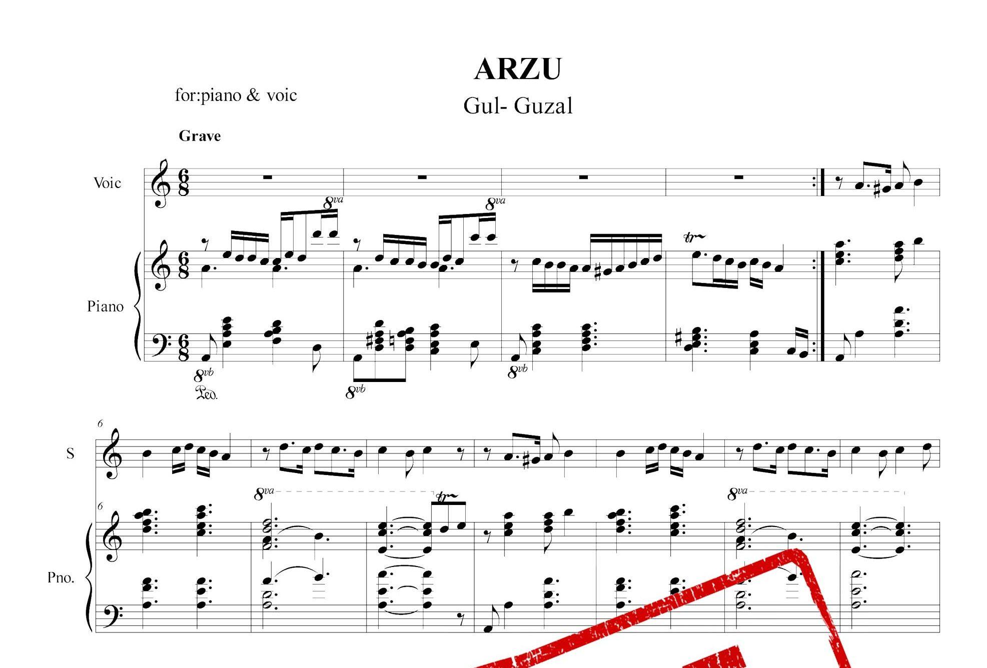 نت پیانوی آرزو گول گوزل به همراه نت کال قطعه