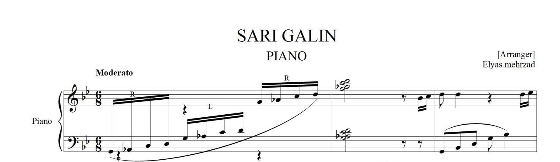 نت پیانوی آهنگ ساری گلین
