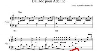 نت پیانوی قطعه Ballad Pour Adeline از کلایدر من