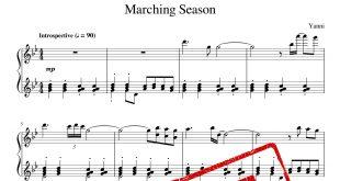 نت پیانوی قطعه Marching Season از یانی