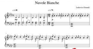 نت پیانوی قطعه Nuvole Bianche
