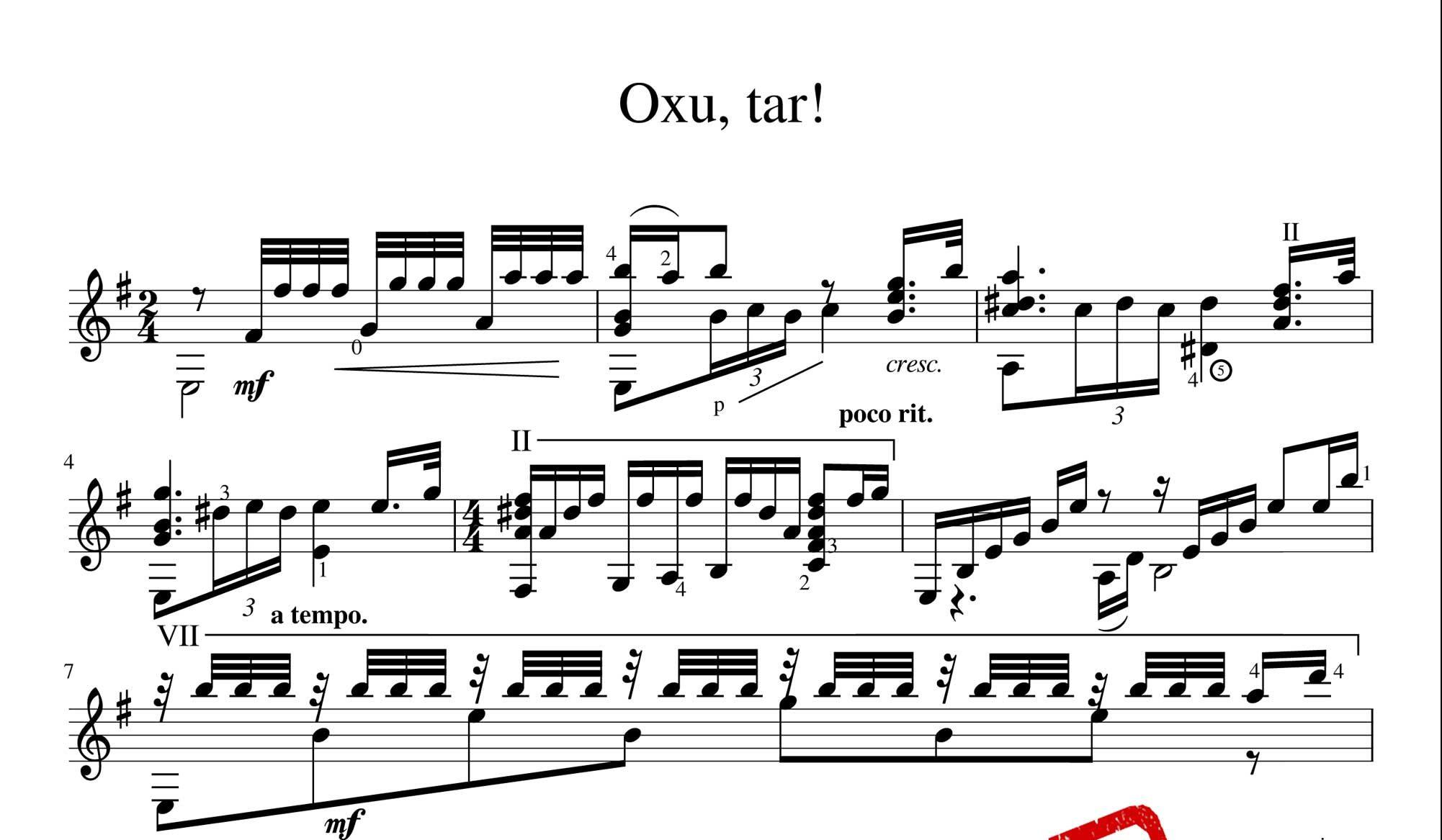 نت آهنگ آذربایجانی اوخوتار برای ساز تار