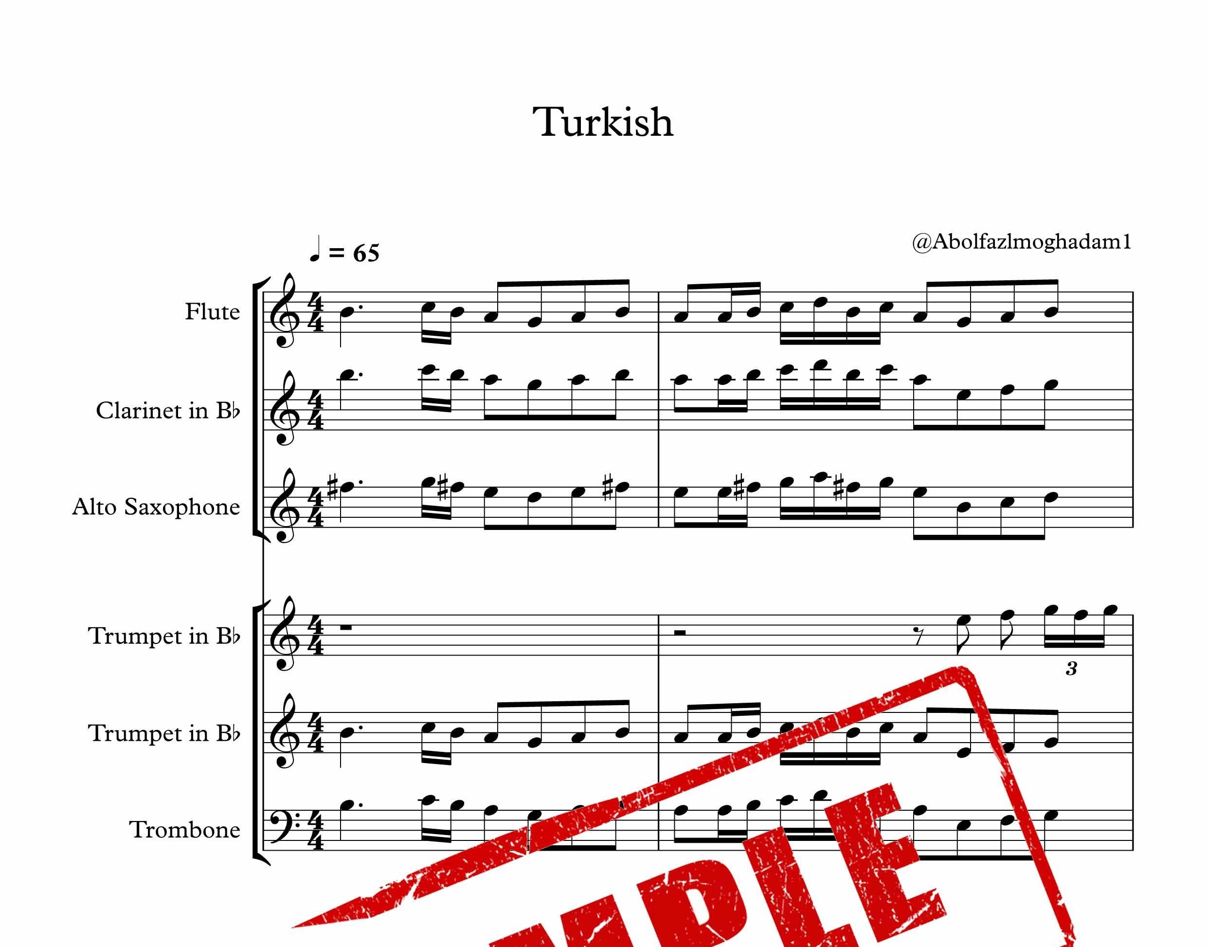 پارتیتور آهنگ غمگین ترکیه برای گروه ساز بادی