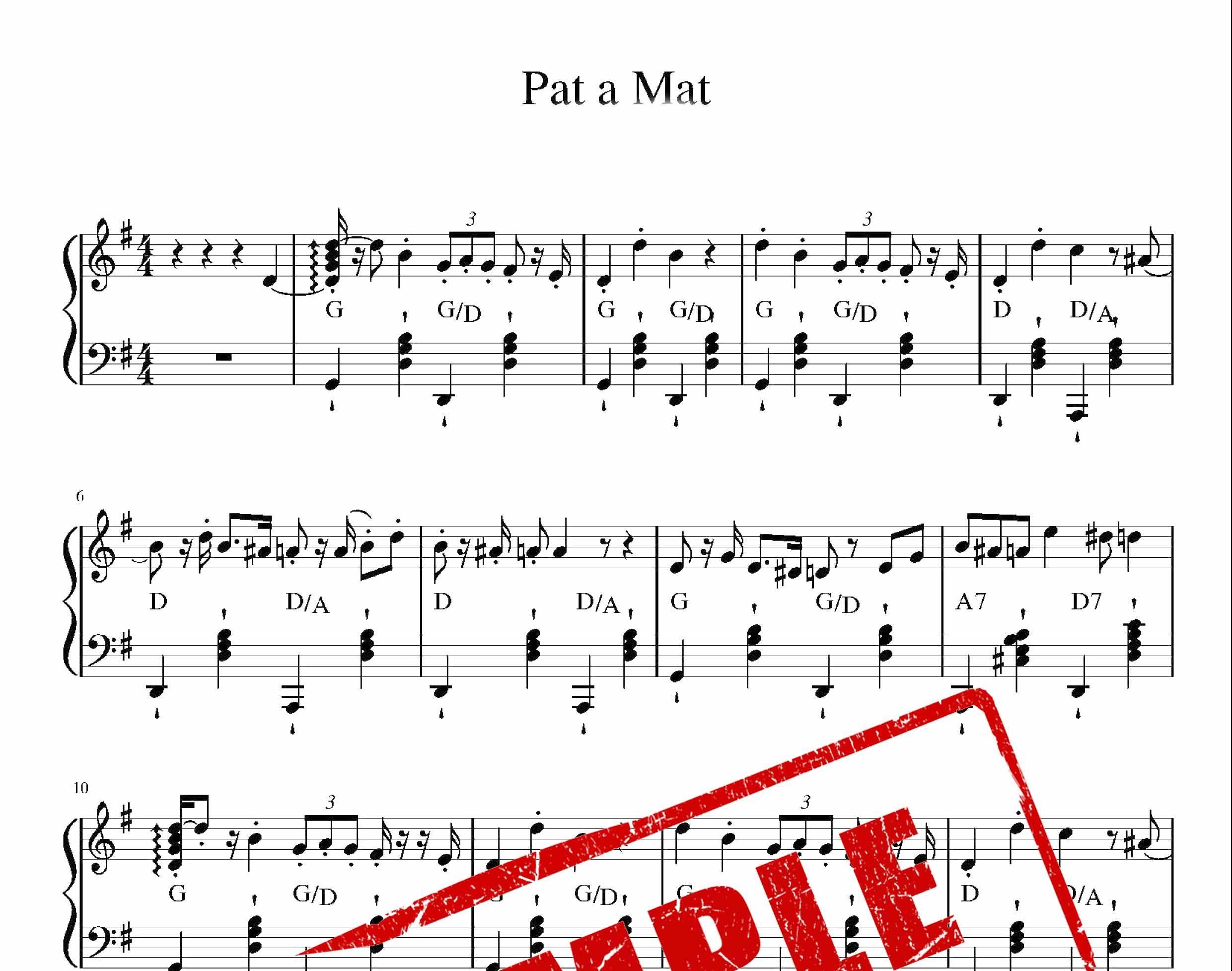 نت ملودی Pat and Mat برای پیانو و کیبورد