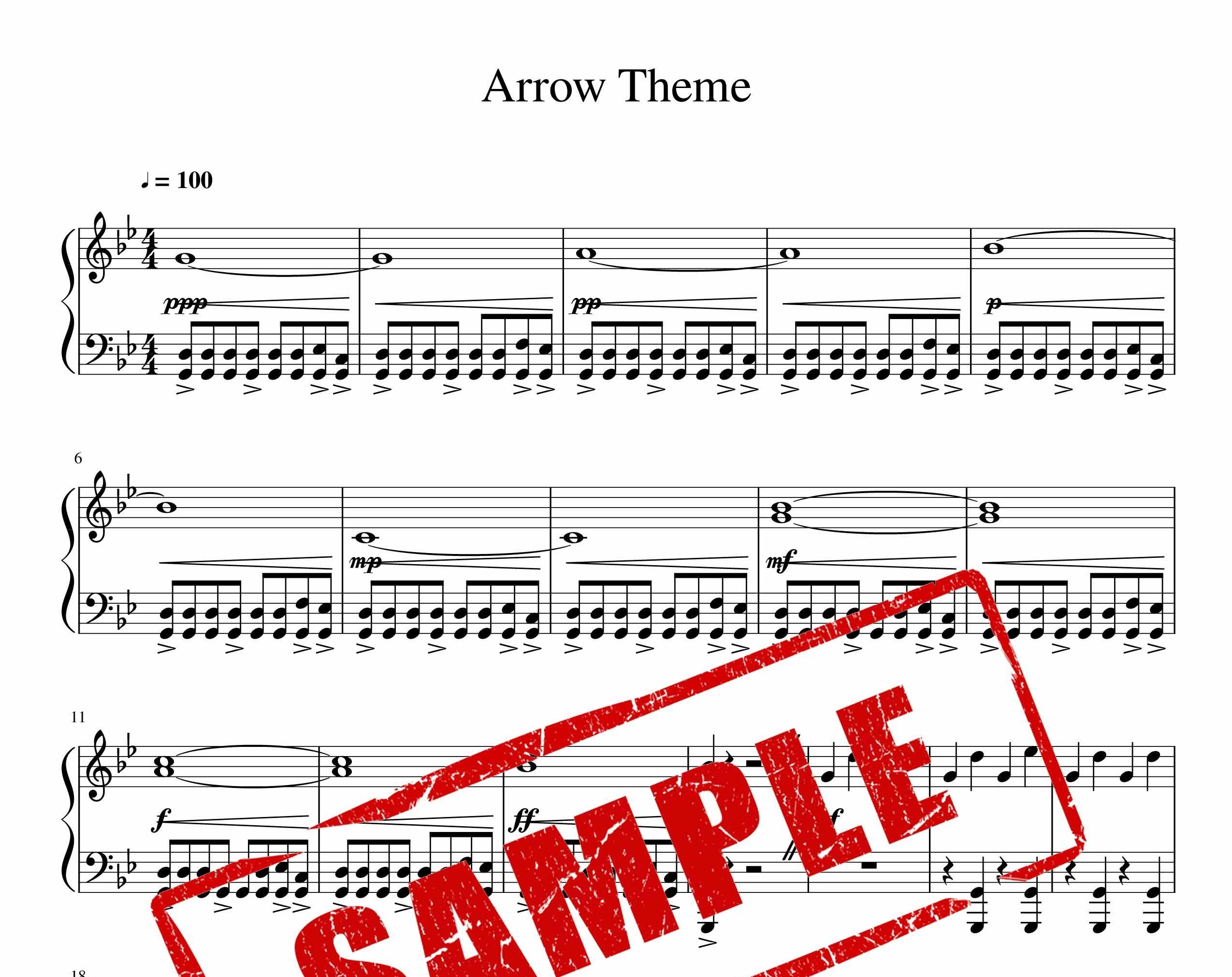 نت موسیقی متن اصلی سریال arrow برای پیانو