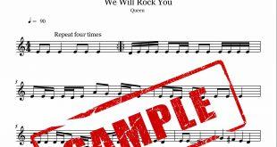 نت ویولن قطعه We will Rock You از گروه Queen