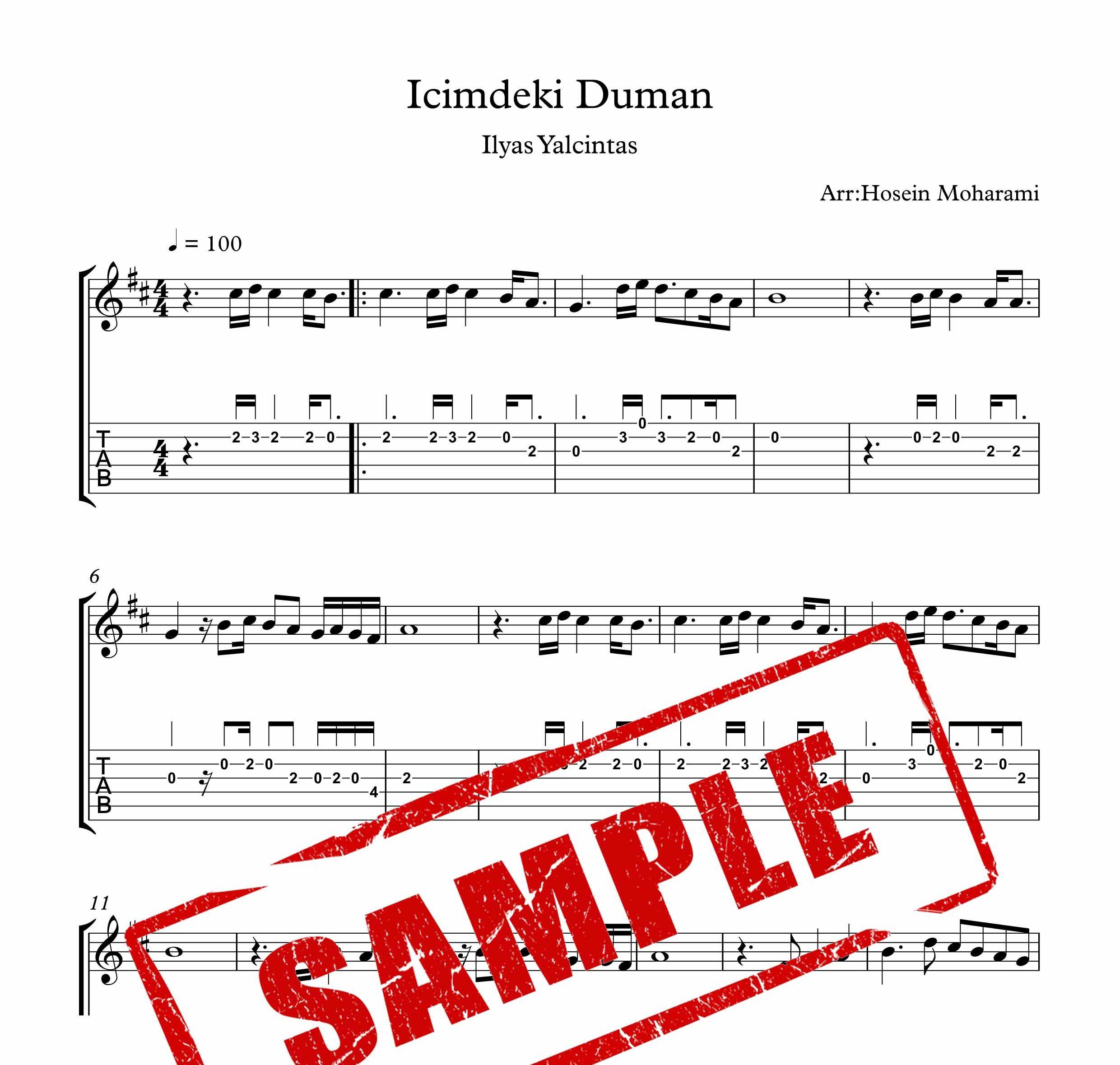 نت و تبلچر آهنگ Icimdeki Duman برای گیتار