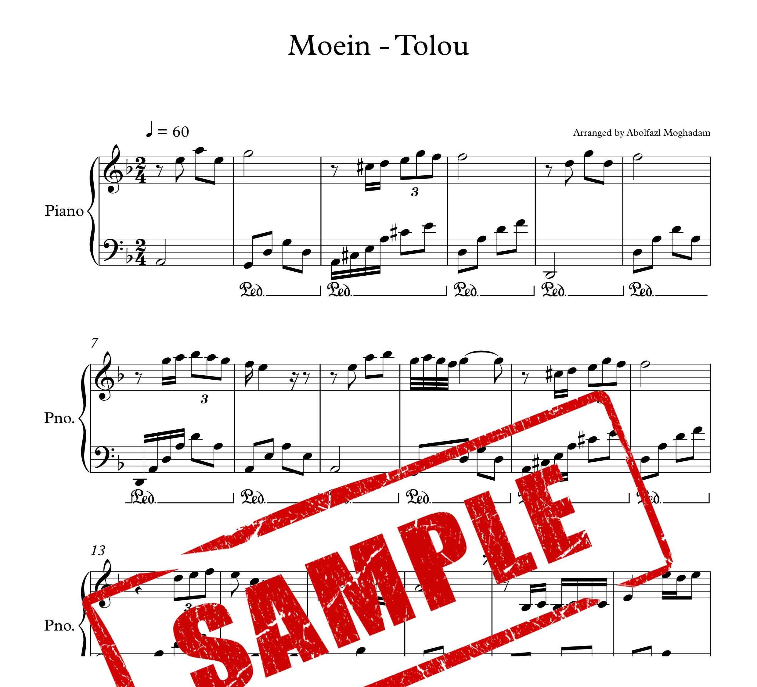 نت پیانوی آهنگ طلوع از معین