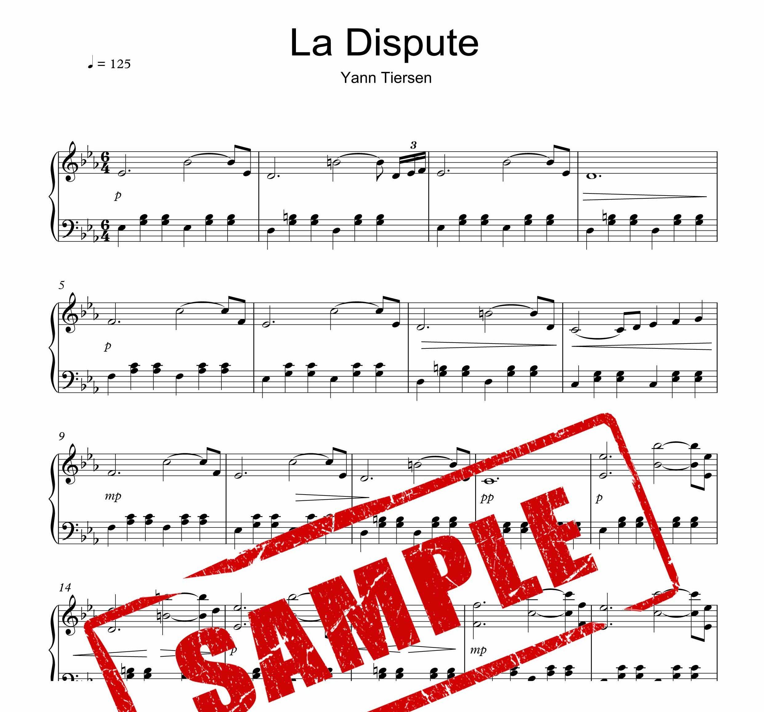 نت پیانوی قطعه La Dispute از یان تیرسن