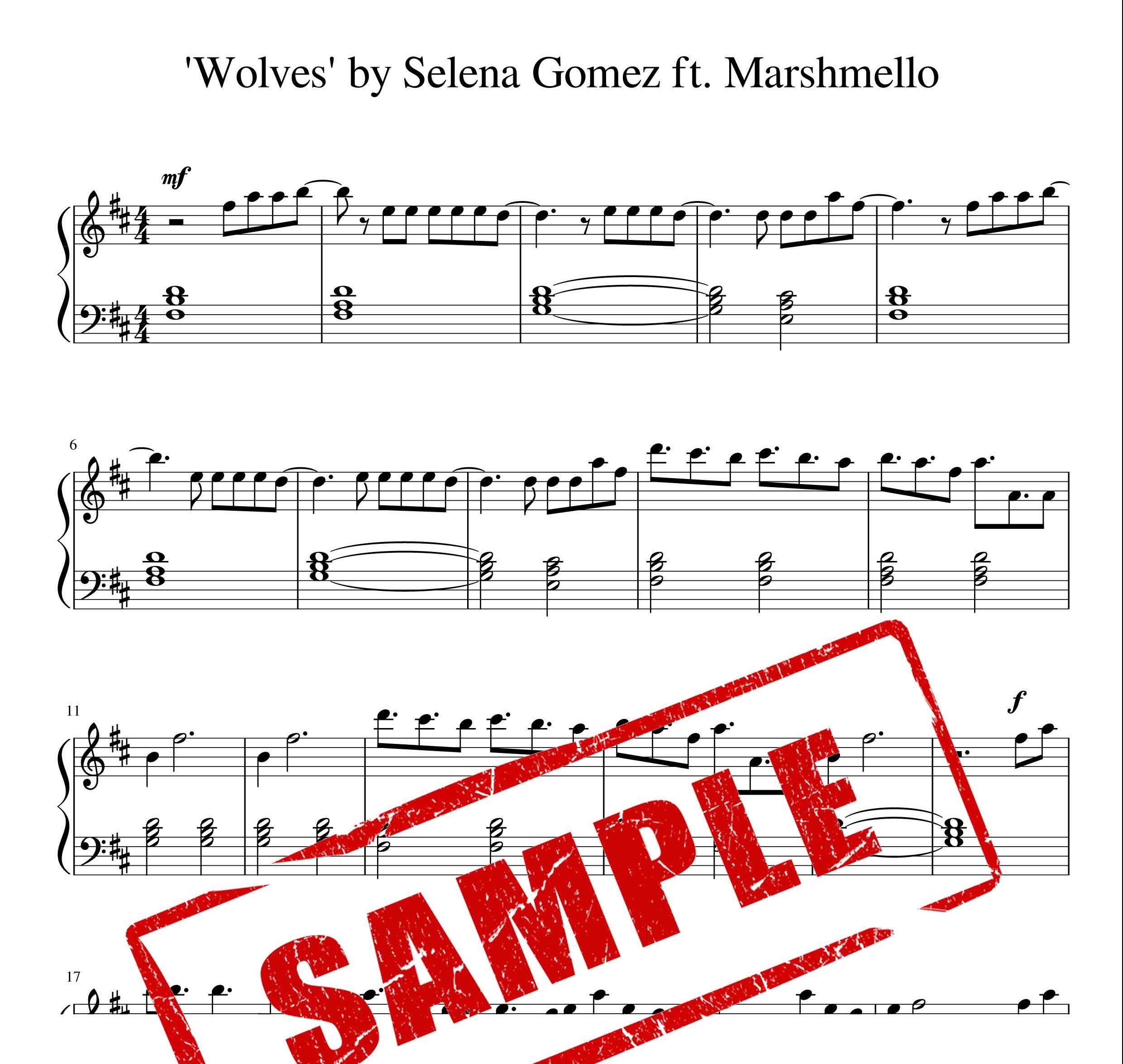 نت پیانو اهنگ wolves از selena gomez