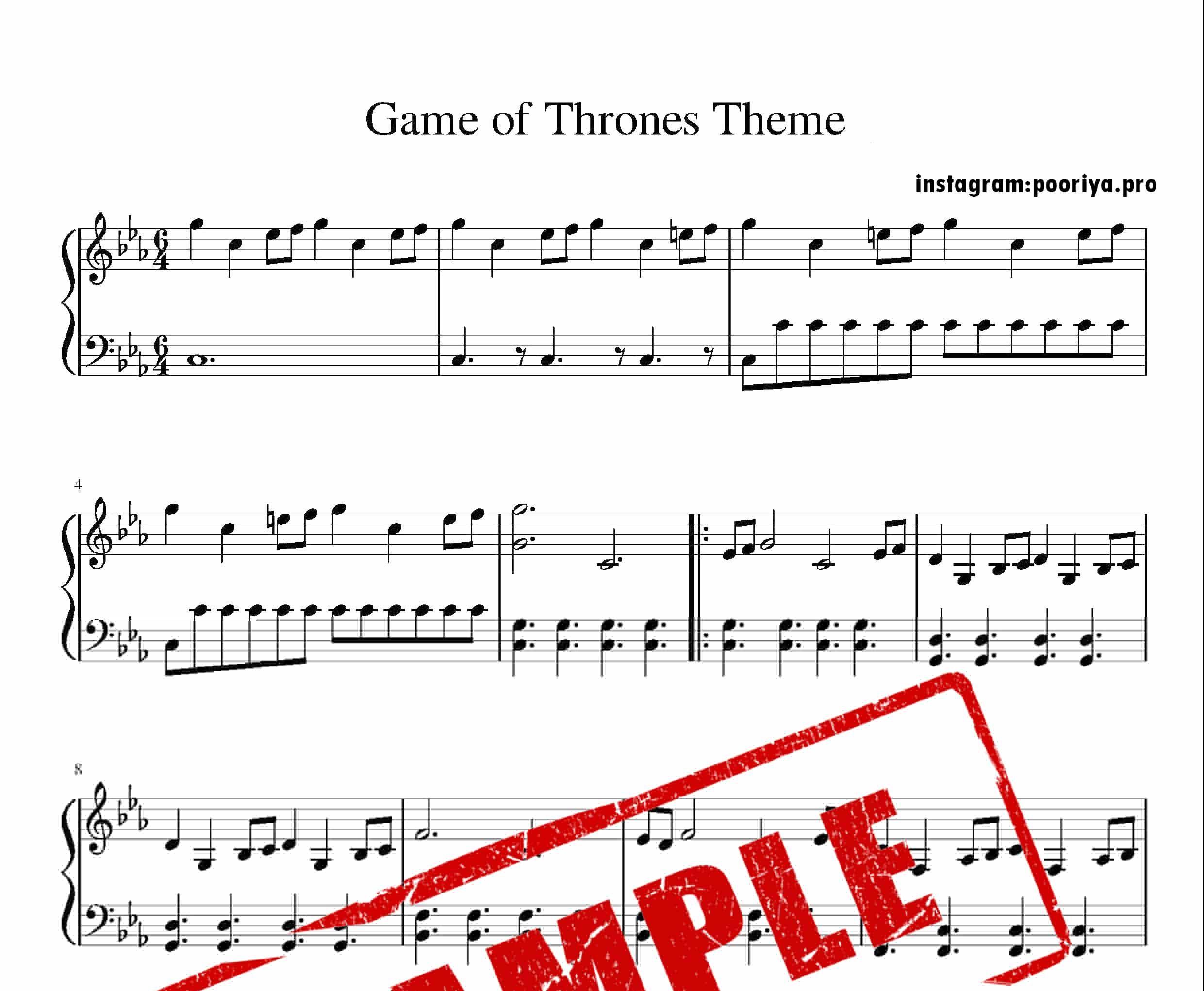 نت پیانو سریال Game of thrones