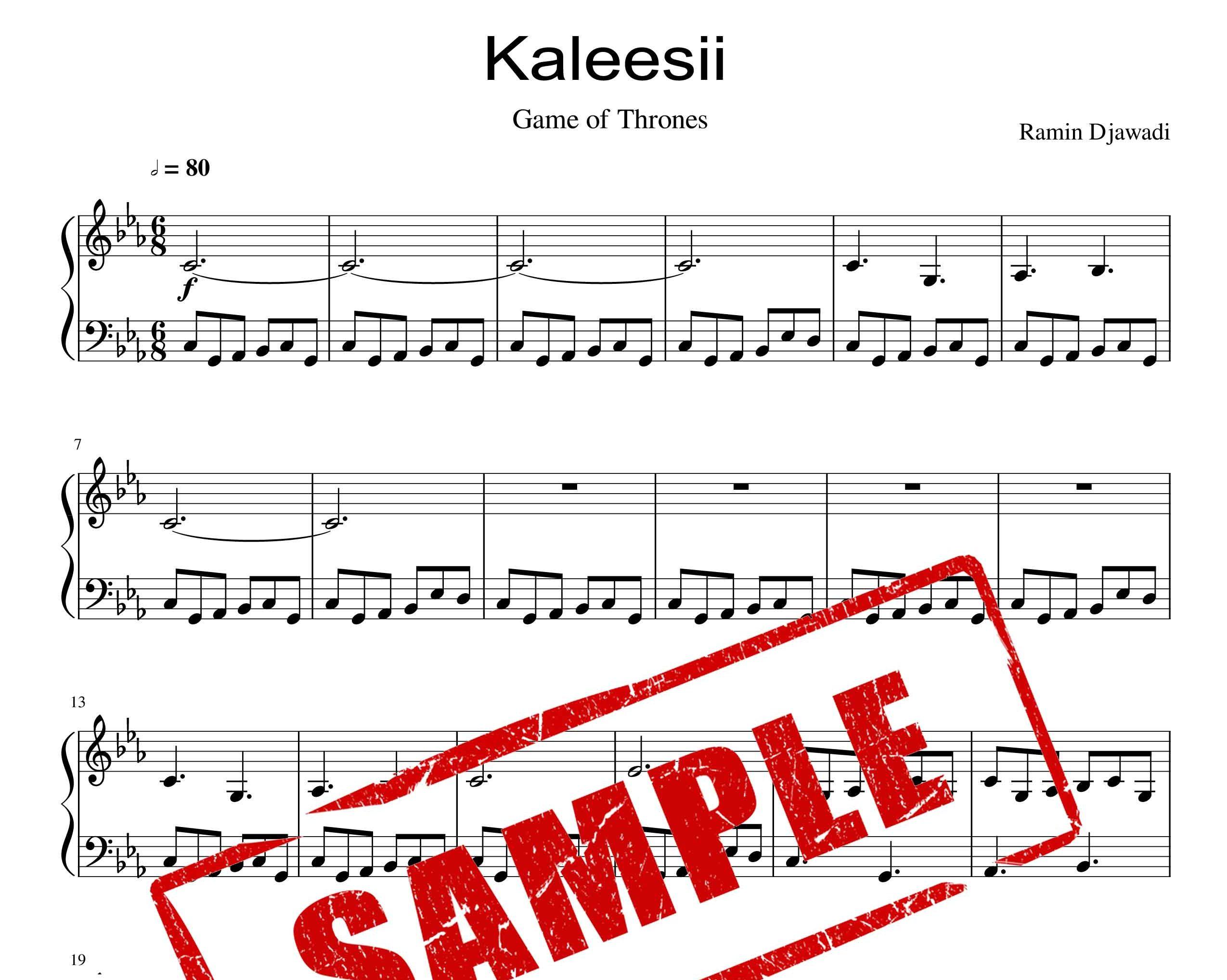 نت پیانو قطعه کالیسی از رامین جوادی از سریال game of thrones