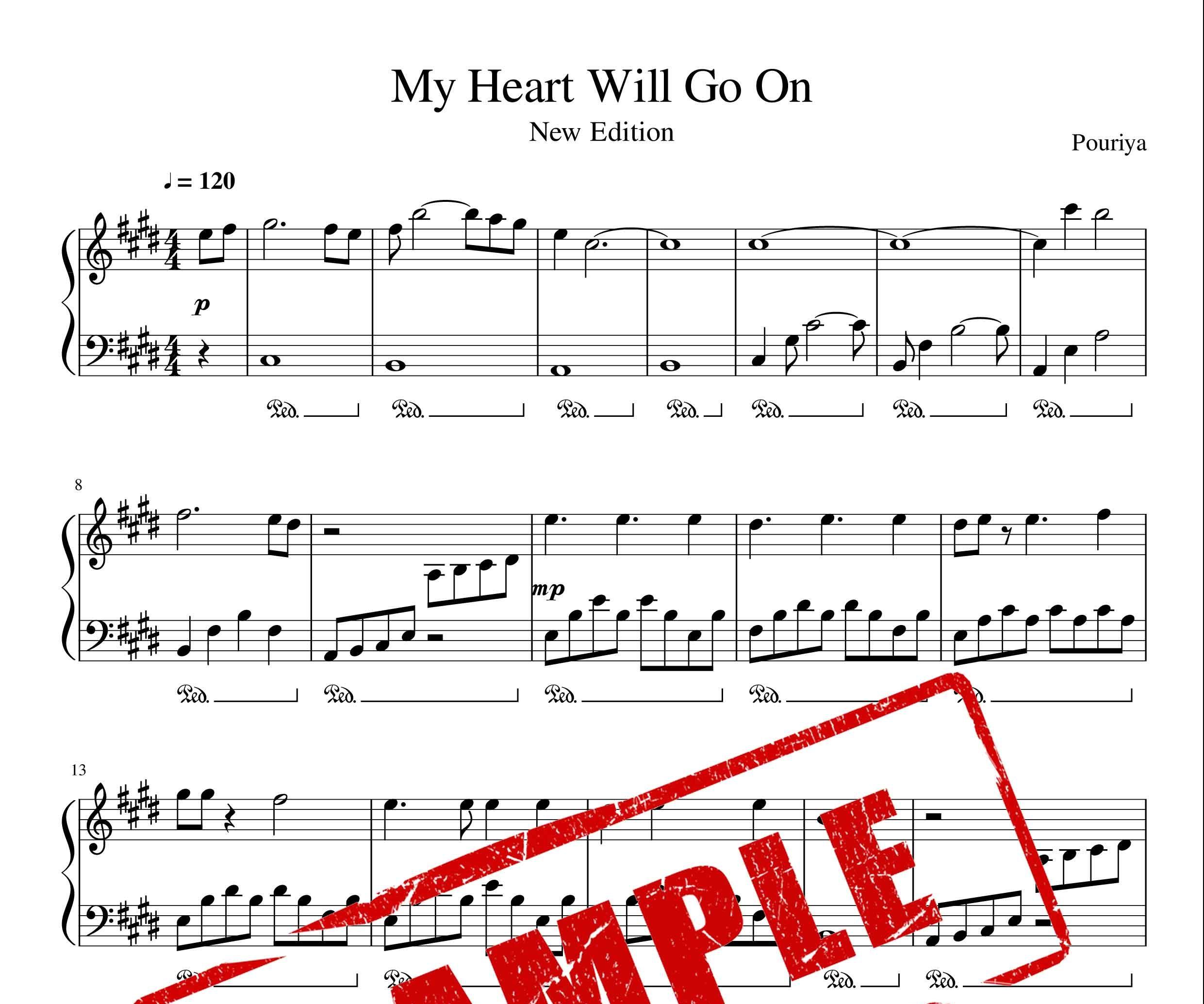نت پیانو My Heart Will Go On فیلم تایتانیک