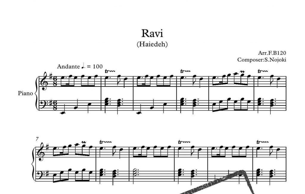 آهنگ آورده خبر راوی 1024x653 - نت آهنگ آورده خبر راوی برای تکنوازی پیانو