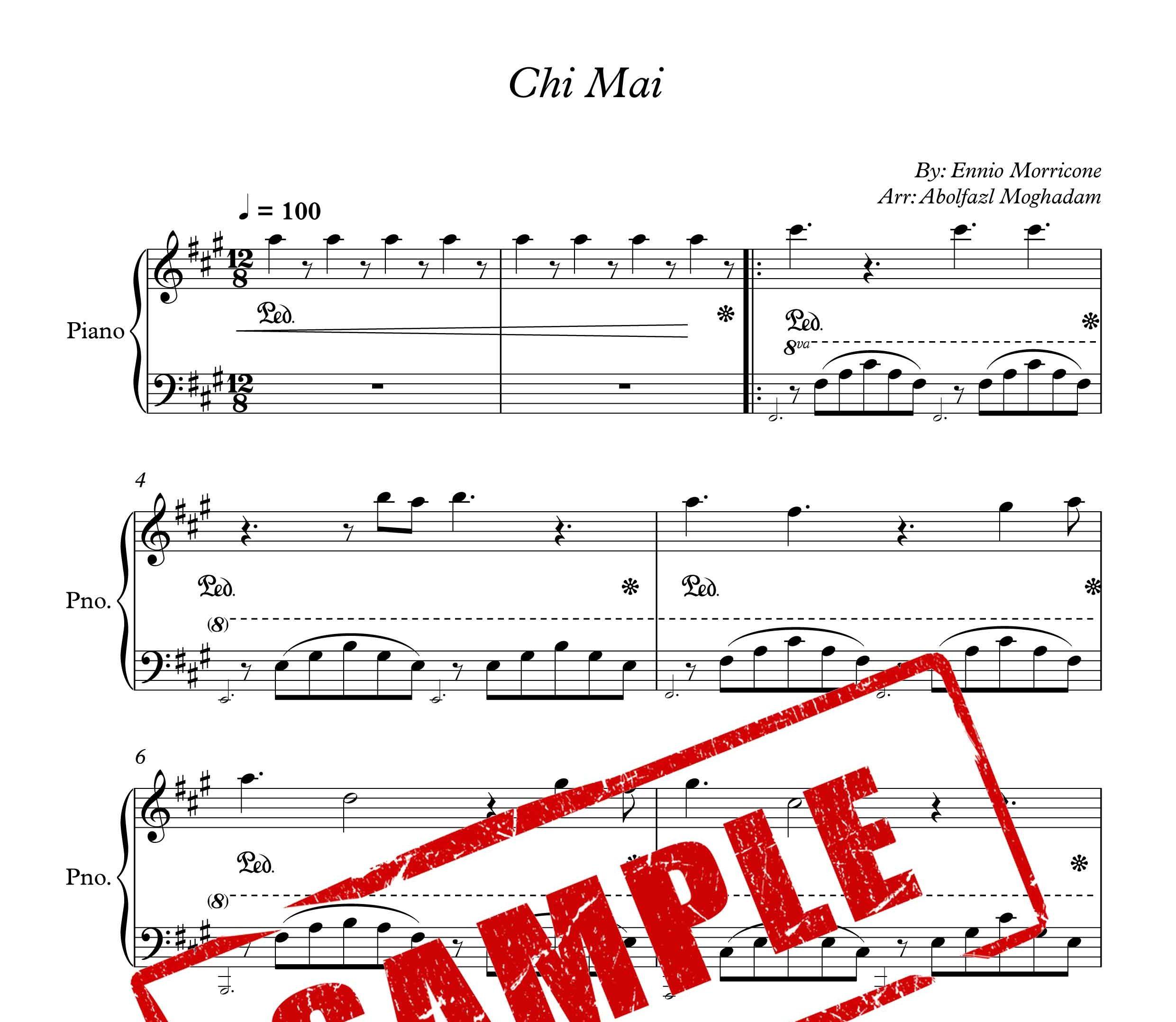نت آهنگ Chi mai برای پیانو از موریکونه