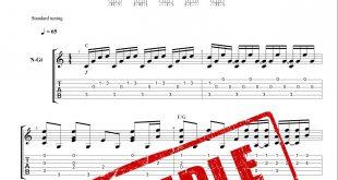 نت و تبلچر قطعه Ballade pour Adeline از ریچارد کلایدرمن برای گیتار