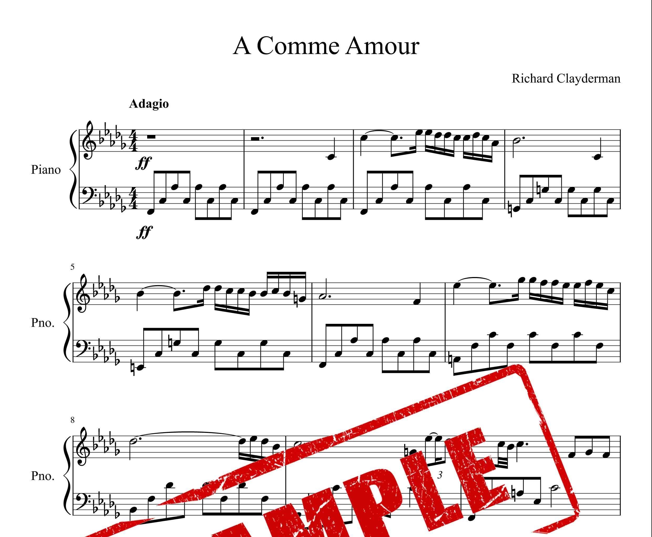 نت پیانوی قطعه A Comme Amour از ریچارد کلایدرمن