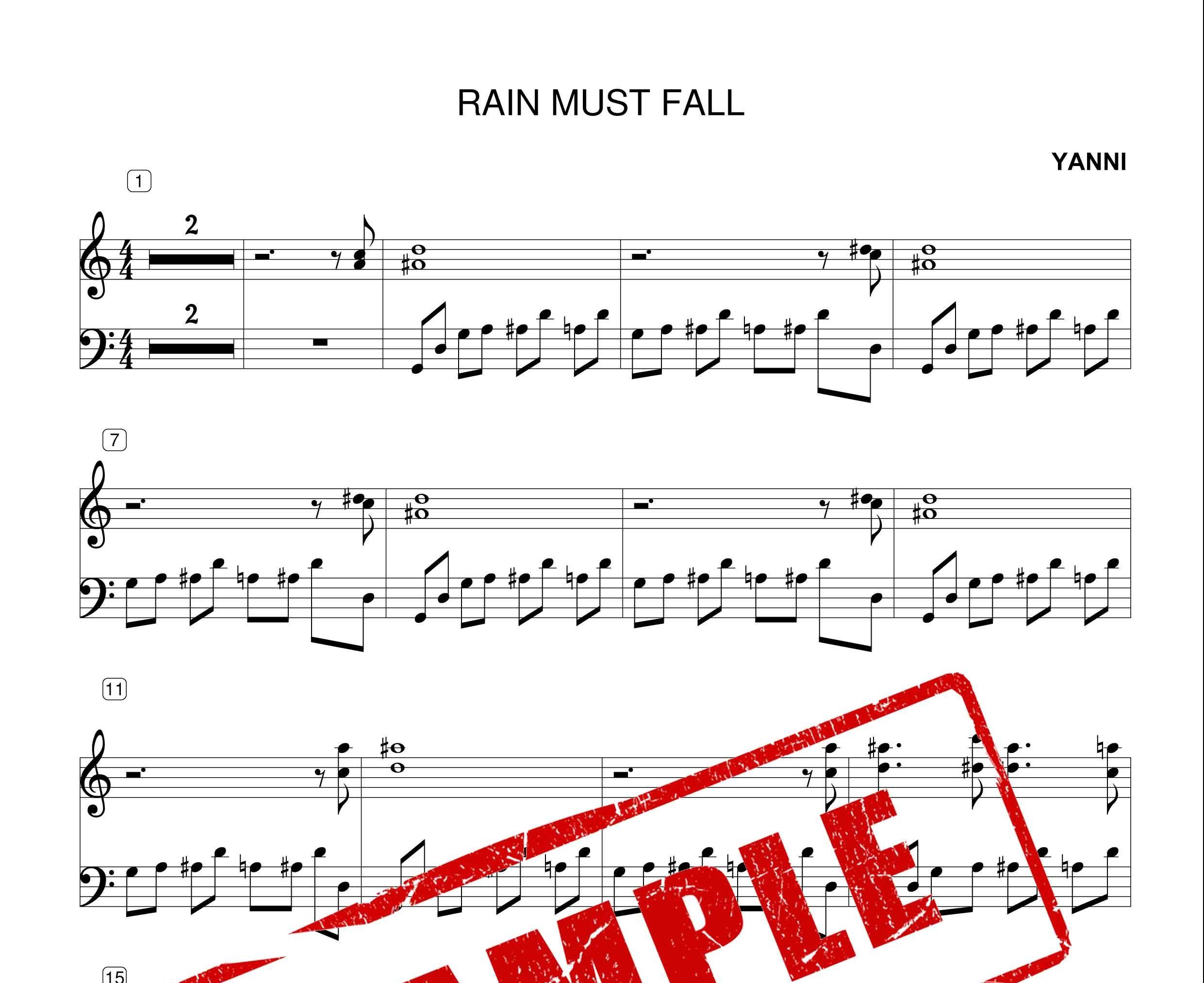 نت پیانوی قطعه RAIN MUST FALL از یانی