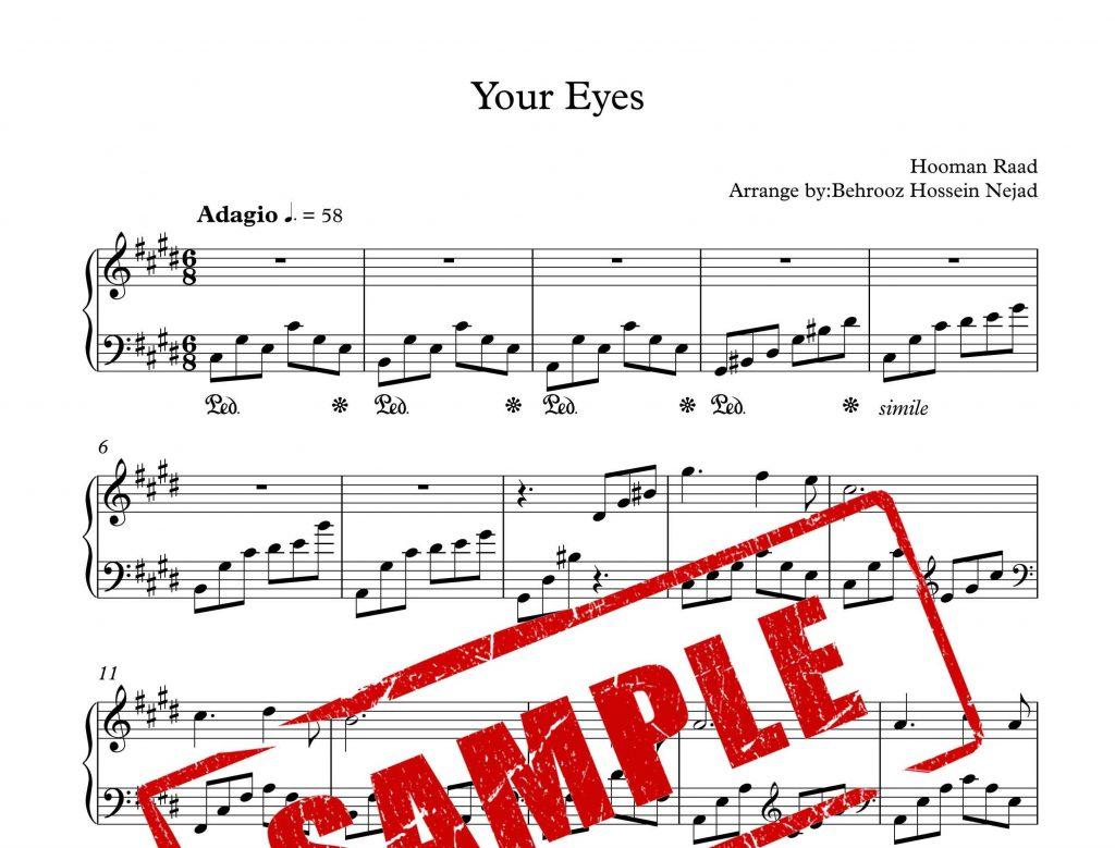 نت پیانوی چشم های تو Your Eyes
