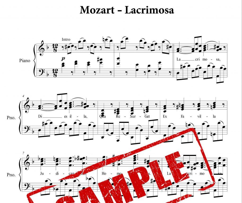 نت پیانوی Lacrimosa از موتسارت