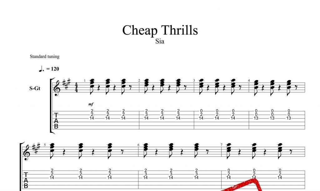 و تبلچر آهنگ Cheap Trills از Sia برای گیتار 1024x613 - نت و تبلچر گیتار آهنگ Cheap Trills از سیا فارلر