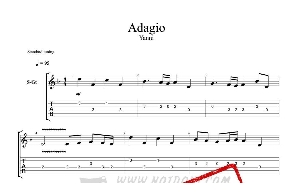 و تبلچر قطعه Adagio از یانی برای گیتار 1024x640 - نت و تبلچر قطعه Adagio از یانی