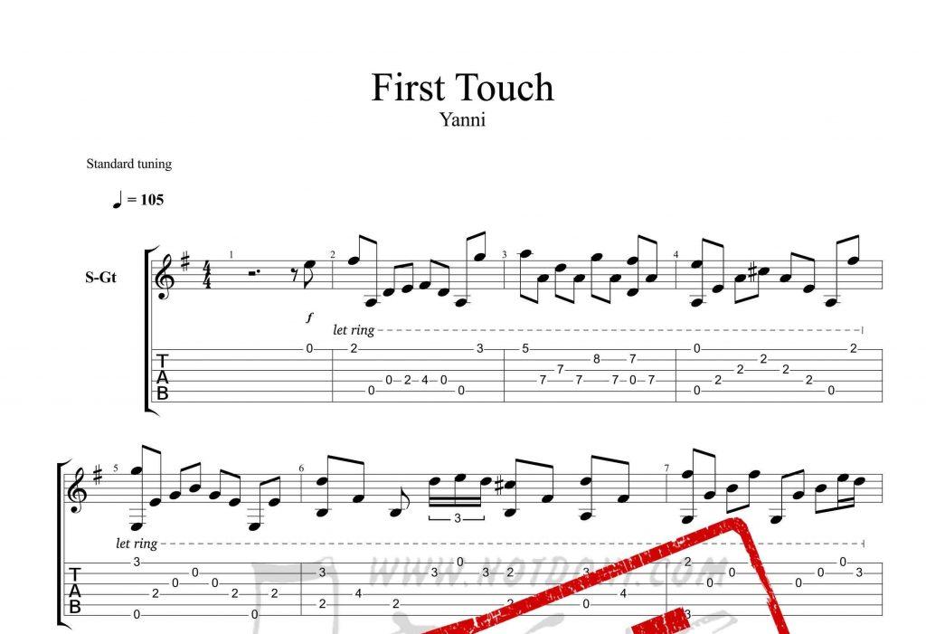 و تبلچر قطعه First Touch از یانی برای گیتار 1024x701 - نت و تبلچر گیتار قطعه First Touch از یانی