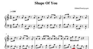 پیانو shape of you اد شیرن ادیت شده توسط پوریا پوروشسب 310x165 - نت آهنگ shape of you اد شیرن برای پیانو