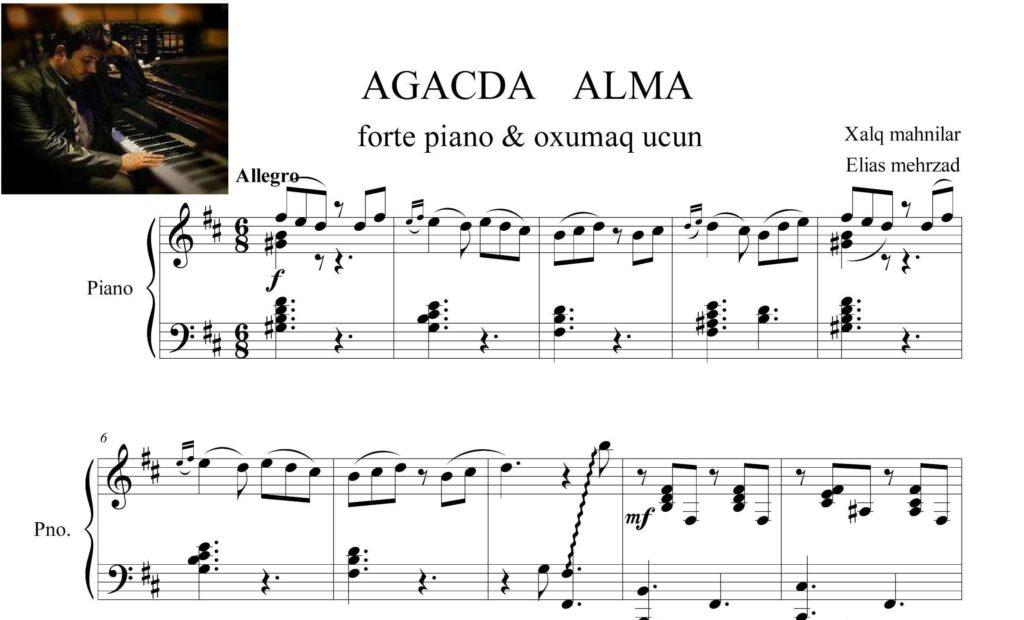 آذری آغاشدان آلما درم ساتارام برای پیانو و آواز - نت <strong>پیانوی</strong> <strong>آهنگ</strong> آغاشدان آلما درم ساتارام