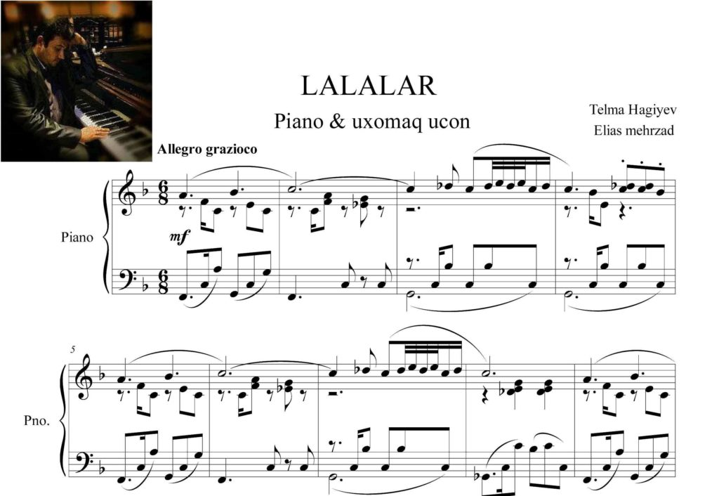 آذری آهنگ لاله لر برای پیانو وآواز - نت پیانوی آذری آهنگ لاله لر