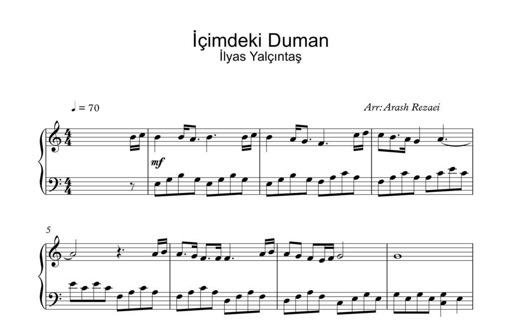 آهنگ İçimdeki Duman با تنظیم آرش رضایی - نت آهنگ İçimdeki Duman برای سه نسخه پیانو و ویولن و گیتار