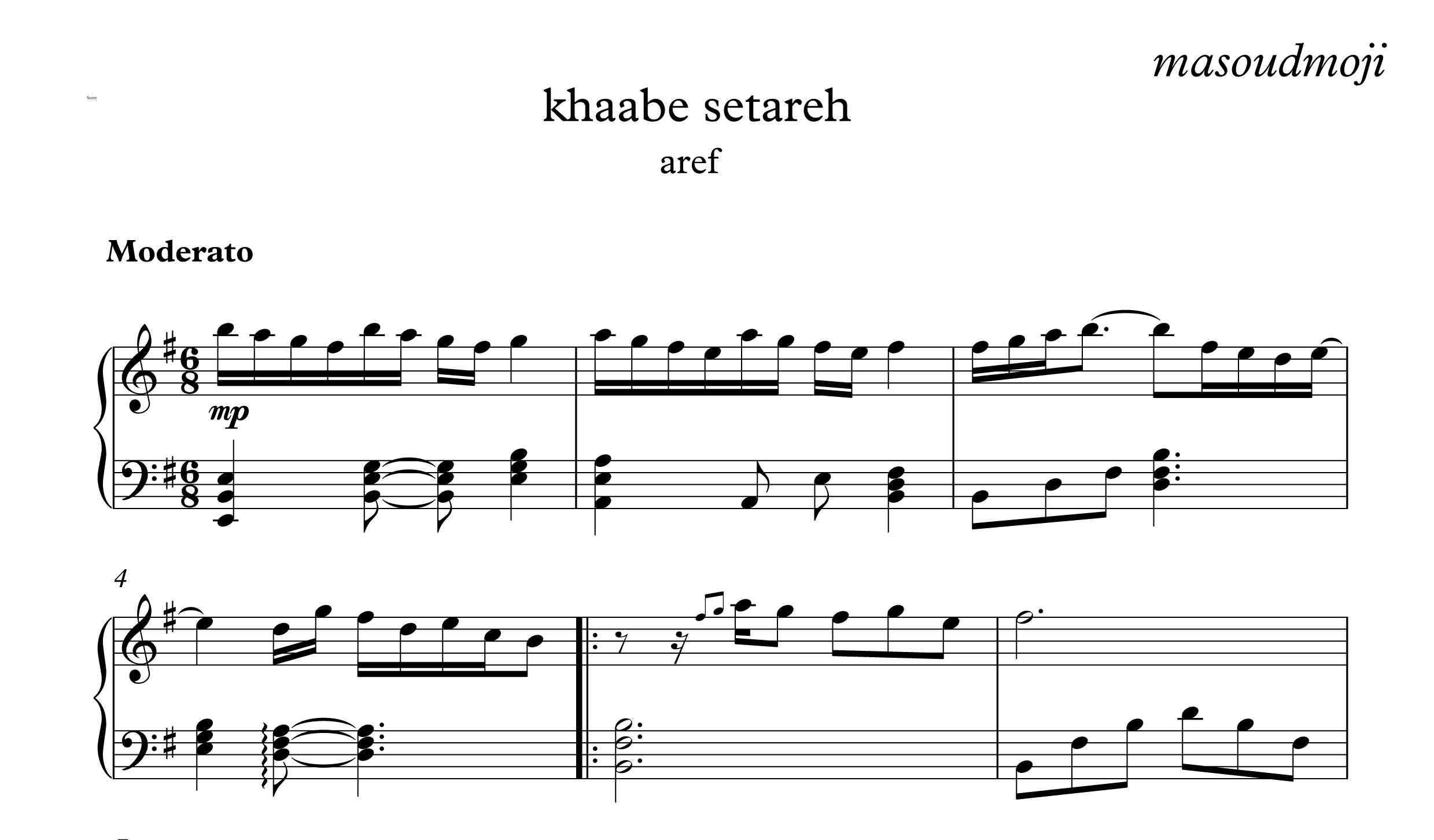 نت آهنگ خواب ستاره ها برای پیانو