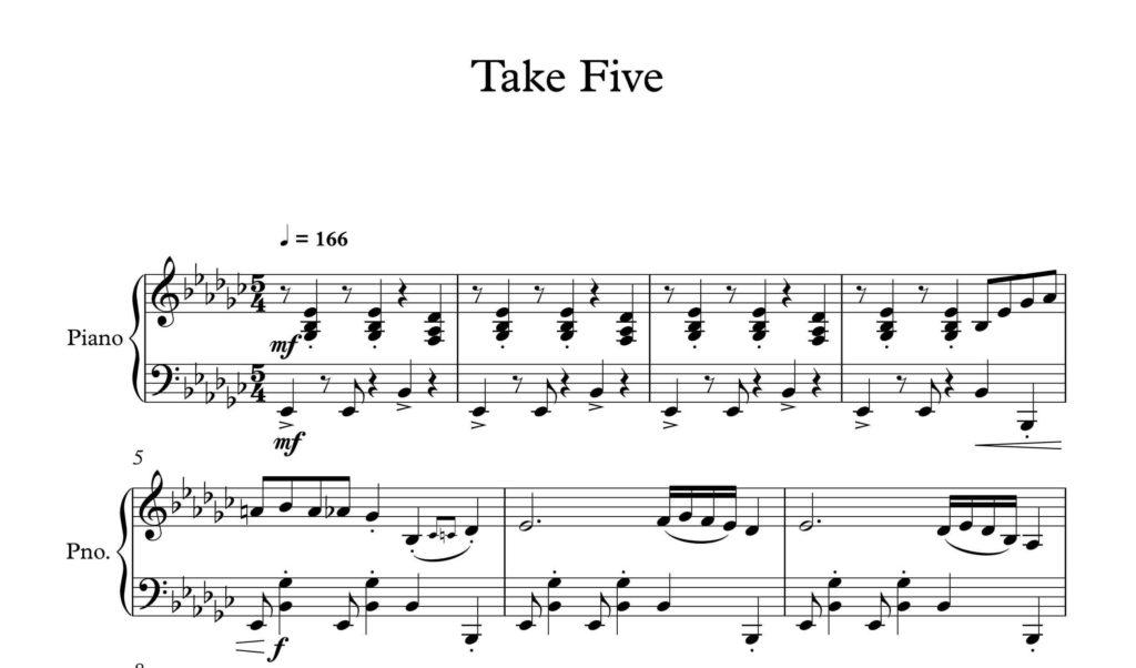 آهنگ take five برای پیانو - نت پیانوی آهنگ take five