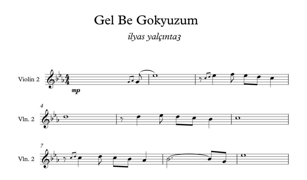 ویولون قطعه Gel Be Gokyuzum - نت آهنگ Gel Be Gokyuzum برای ویولن