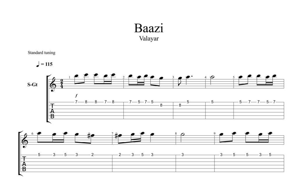 و تبلچر آهنگ بازی از خواب برگشتم به تنهایی برای گیتار با تنظیم سینا حسن پور - نت و تبلچر گیتار آهنگ بازی ( از خواب برگشتم به تنهایی