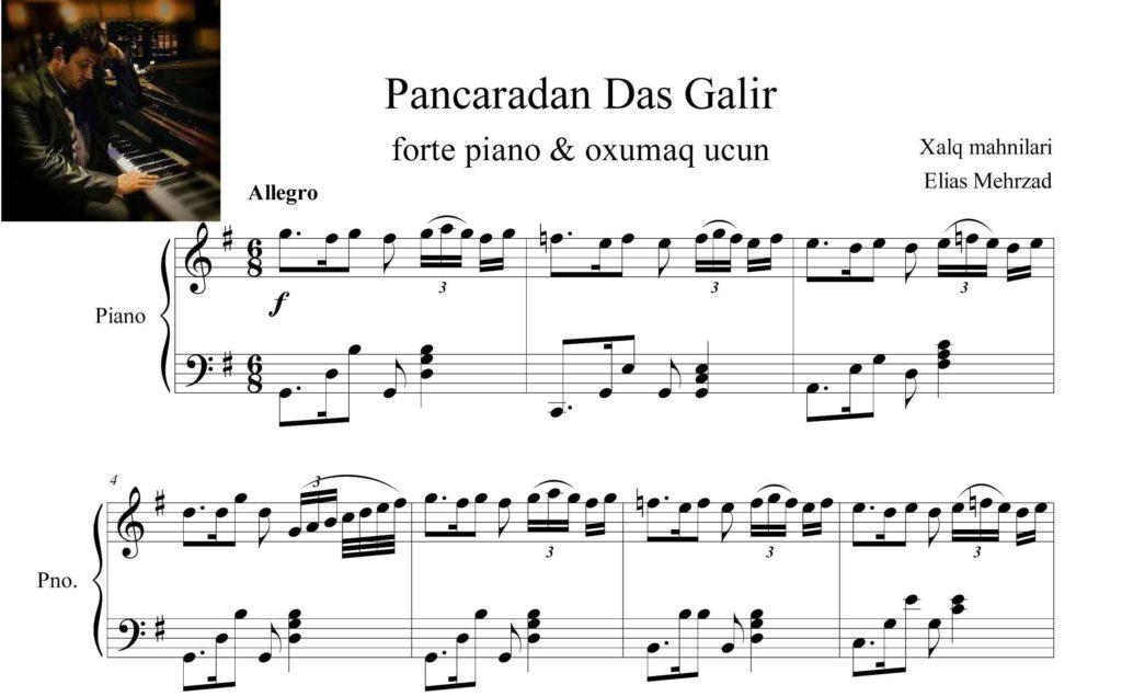 پنجردن داش گلیر برای پیانو و آواز 1 - نت پیانو آهنگ پنجردن داش گلیر
