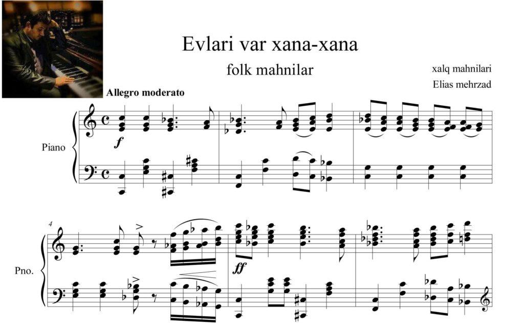 پیانوی اولری وار خاناخانا - نت آهنگ اولری وار خاناخانا برای پیانو