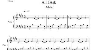 نت پیانو آهنگ All I Ask از ادل