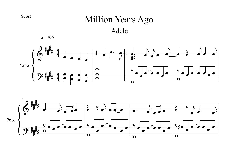 نت پیانو قطعه Million Years Ago از ادل